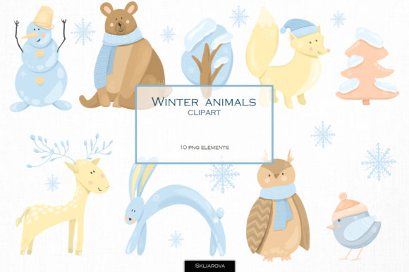 Winter Animals Clipart Graphic Illustrations By HappyWatercolorShop