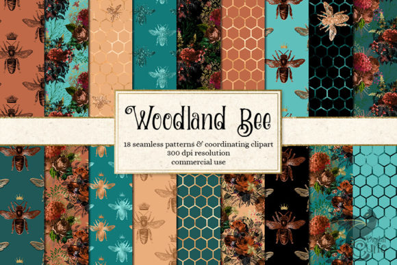 Woodland Bee Digital Paper Graphic
