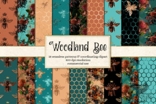 Print on Demand: Woodland Bee Digital Paper Graphic Backgrounds By Digital Curio