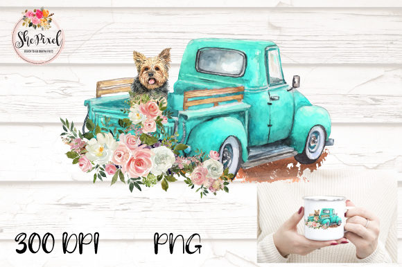 Print on Demand: Yorkie Watercolor Vintage Truck Clipart Graphic Illustrations By ShePixel