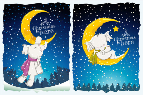 Playing with the Moon in Christmas Eve Graphic Illustrations By onoborgol