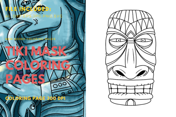 Print on Demand: Tiki Mask Polynesian Art Coloring Page Graphic Coloring Pages & Books By stanosh