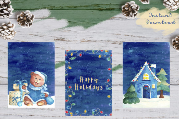Print on Demand: X3 Watercolor Christmas Greeting Cards Graphic Illustrations By colours_of_wind