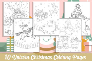 10 Unicorn Christmas Coloring Pages Gráfico Libros para colorear - Niños Por KING ROX