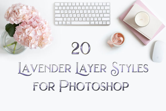 Print on Demand: 20 Lavender Layer Styles for Photoshop Graphic Layer Styles By SapphireXDesigns