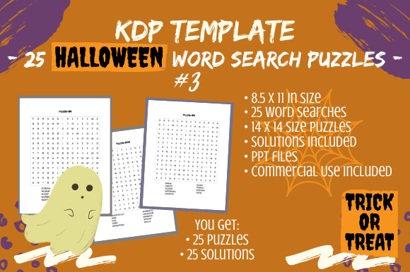 Print on Demand: 25 Fun Halloween Word Search Puzzles #3 Graphic KDP Interiors By Tomboy Designs