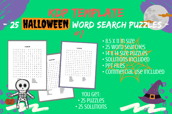 Print on Demand: 25 Halloween Word Search 14×14 Puzzles Graphic KDP Interiors By Tomboy Designs