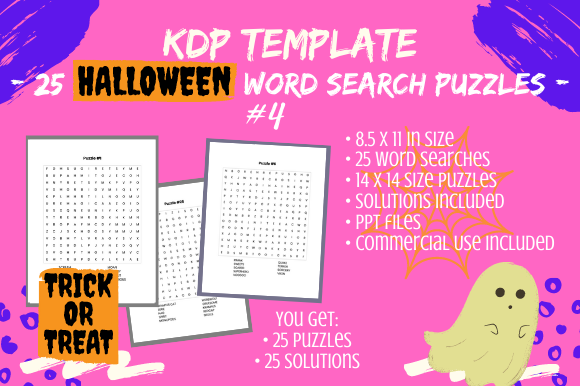 Print on Demand: 25 Halloween Word Search for Teens/Adult Graphic KDP Interiors By Tomboy Designs