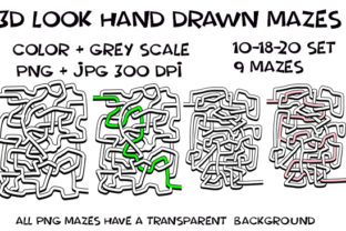 Print on Demand: 3D Look Hand Drawn Weave Mazes Graphic KDP Interiors By Kathryn Maloney