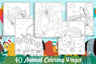 40 Animal Coloring Pages for Kids Gráfico Libros para colorear - Niños Por KING ROX