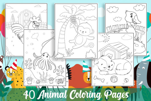 40 Animal Coloring Pages for Kids Graphic Coloring Pages & Books Kids By KING ROX