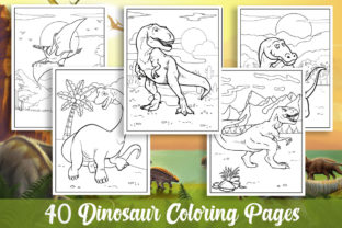 40 Dinosaur Coloring Pages for Kids Gráfico Libros para colorear - Niños Por KING ROX