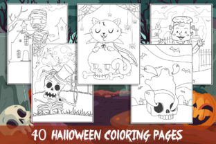 40 Halloween Coloring Pages for Kids Gráfico Libros para colorear - Niños Por KING ROX