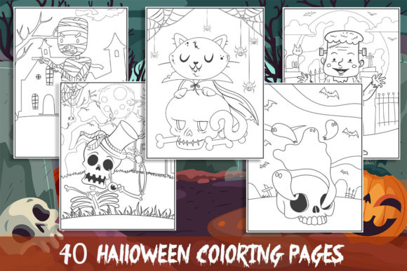 40 Halloween Coloring Pages for Kids Graphic Coloring Pages & Books Kids By KING ROX