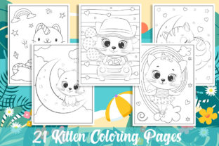 21 Kitten Coloring Pages for Kids Gráfico Libros para colorear - Niños Por KING ROX