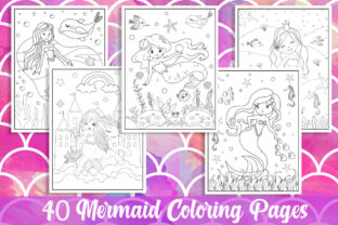 40 Mermaid Coloring Pages for Kids Gráfico Libros para colorear - Niños Por KING ROX