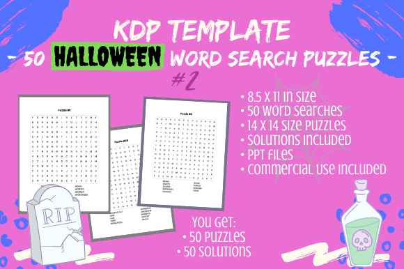 Print on Demand: 50 Halloween Word Searches #2 for Adults Graphic KDP Interiors By Tomboy Designs