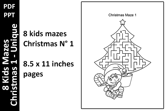 8 Kids Mazes Christmas 1. Activity Pages Graphic KDP Interiors By Oxyp