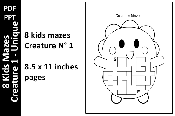 8 Kids Mazes Creature 1 - Activity Pages Graphic KDP Interiors By Oxyp