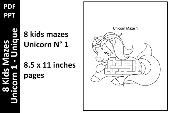8 Kids Mazes Unicorn 1 - Activity Pages Graphic KDP Interiors By Oxyp