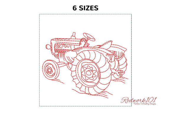 Agricultural Tractor Machine Transportation Embroidery Design By Redwork101
