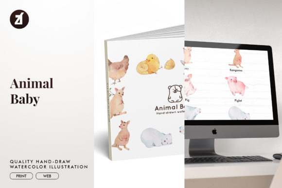 Animal Baby Watercolor Illustration Graphic Illustrations By Chanut is watercolor