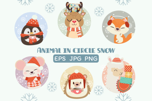 Animal in Christmas Circlesnow Clipart Graphic Illustrations By Guppic the duck