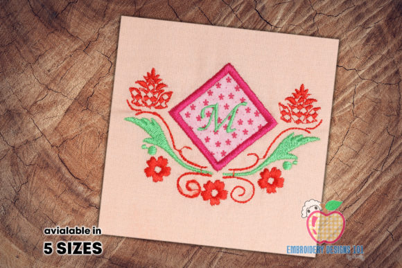 Applique Frame with Monogram Single Flowers & Plants Embroidery Design By embroiderydesigns101