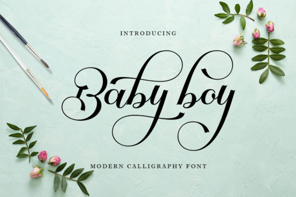 Print on Demand: Baby Boy Script & Handwritten Font By herostudio965