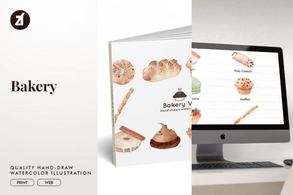 Bakery Set1 Watercolor Illustration Graphic Illustrations By Chanut is watercolor