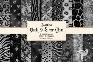 Print on Demand: Black and Silver Glam Digital Paper Graphic Backgrounds By Digital Curio