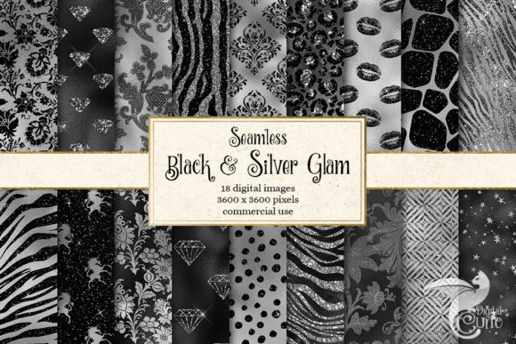 Print on Demand: Black and Silver Glam Digital Paper Grafik Backgrounds von Digital Curio