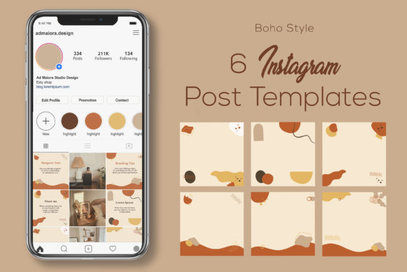 Print on Demand: Boho Instagram Post Templates for Canva Graphic Graphic Templates By AdMaioraDesign