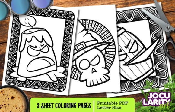 Candle, Skull & Ghost in Halloween Mode Graphic Coloring Pages & Books Kids By JocularityArt