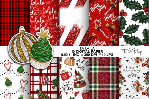 Print on Demand: Christmas Digital Paper Pack Graphic Patterns By TheGGShop