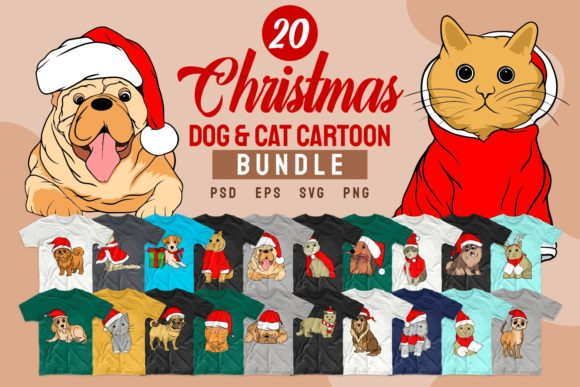 Print on Demand: Christmas Dog and Cat Cartoon Bundle Graphic Print Templates By Universtock
