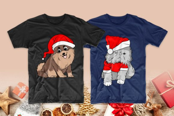 Christmas Dog and Cat Cartoon Bundle Graphic Graphic