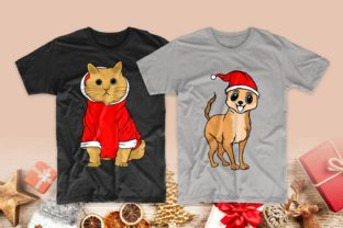 Print on Demand: Christmas Dog and Cat Cartoon Bundle Graphic Print Templates By Universtock 11