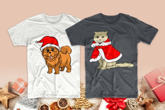 Christmas Dog and Cat Cartoon Bundle Graphic Download