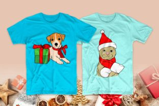 Print on Demand: Christmas Dog and Cat Cartoon Bundle Graphic Print Templates By Universtock 3