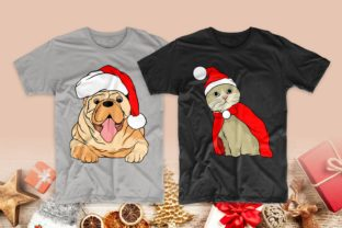 Print on Demand: Christmas Dog and Cat Cartoon Bundle Graphic Print Templates By Universtock 4