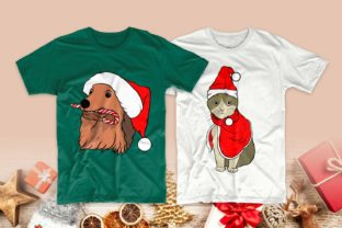 Print on Demand: Christmas Dog and Cat Cartoon Bundle Graphic Print Templates By Universtock 5