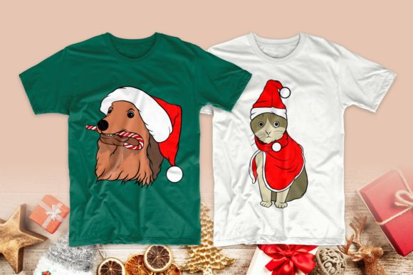 Christmas Dog and Cat Cartoon Bundle Graphic Preview