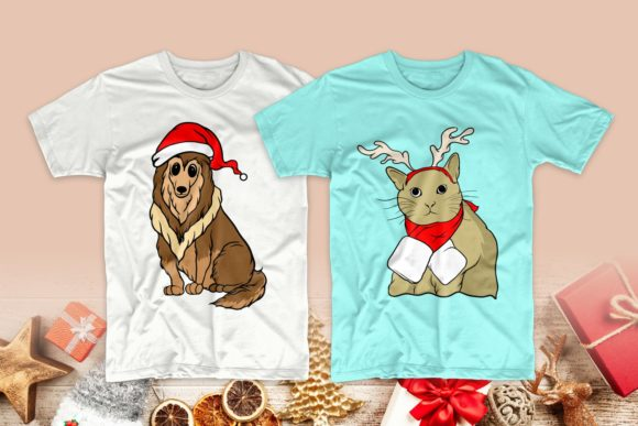 Christmas Dog and Cat Cartoon Bundle Graphic Image