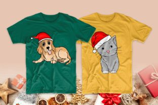 Print on Demand: Christmas Dog and Cat Cartoon Bundle Graphic Print Templates By Universtock 7
