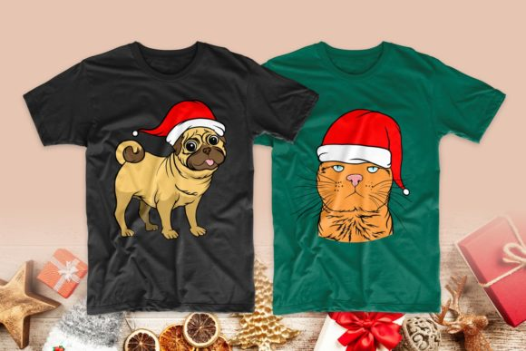 Christmas Dog and Cat Cartoon Bundle Graphic Downloadable Digital File