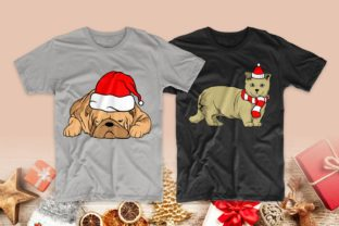 Print on Demand: Christmas Dog and Cat Cartoon Bundle Graphic Print Templates By Universtock 9
