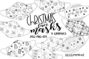 Print on Demand: Christmas Face Maks - Outlines Graphic Illustrations By DigitalPapers 1