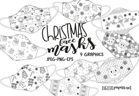 Print on Demand: Christmas Face Maks - Outlines Graphic Illustrations By DigitalPapers
