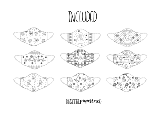 Christmas Face Maks - Outlines Graphic Download